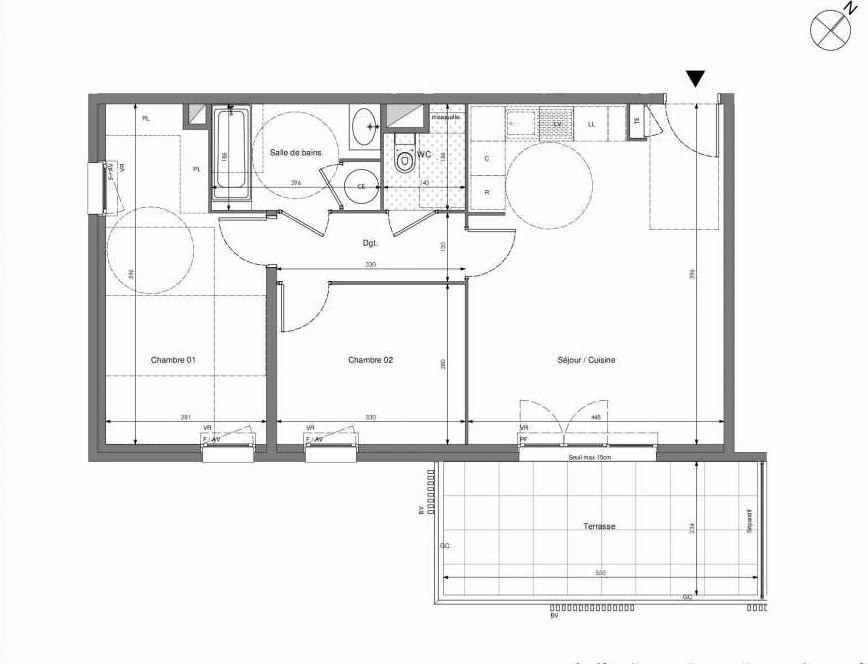 Plan B105, appartement neuf type T3 au 1er étage, orienté Sud faisant 62m² du programme neuf Impulsion à Marseille.