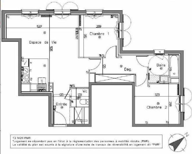 Plan B105, appartement neuf type T3 au 1er étage, orienté Nord faisant 64m² du programme neuf LE HAMEAU DU ROI à Le Mesnil-le-Roi.