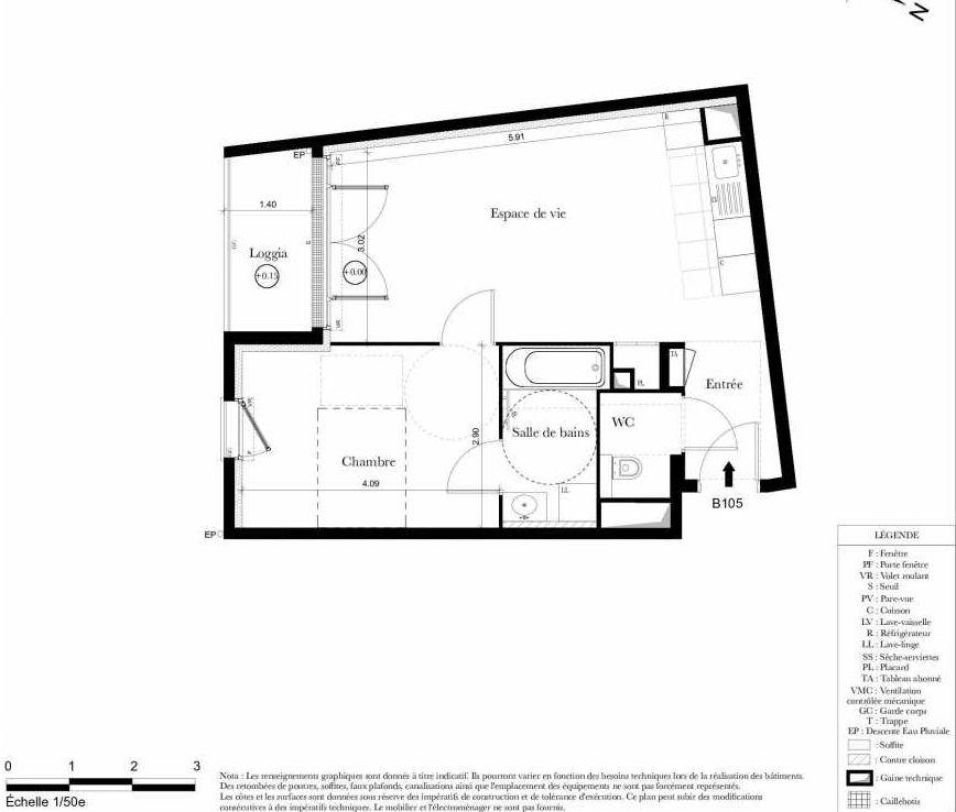 Plan B105, appartement neuf type T2 au 1er étage, orienté Sud faisant 44m² du programme neuf Symbiose à Bezons.