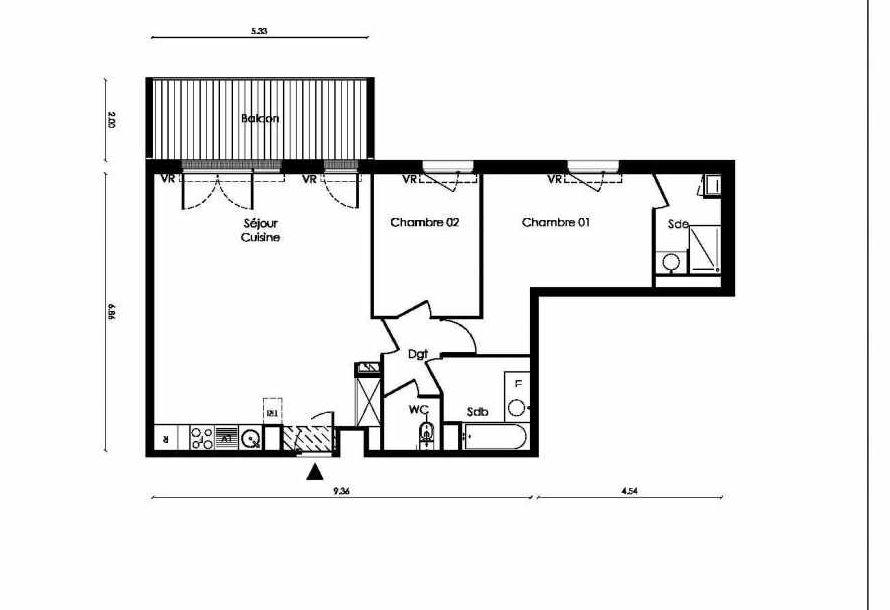 Plan B105, appartement neuf type T3 au Rez de chaussée, faisant 75m² du programme neuf TOSCANI SIENNE à Saint-Orens-de-Gameville.