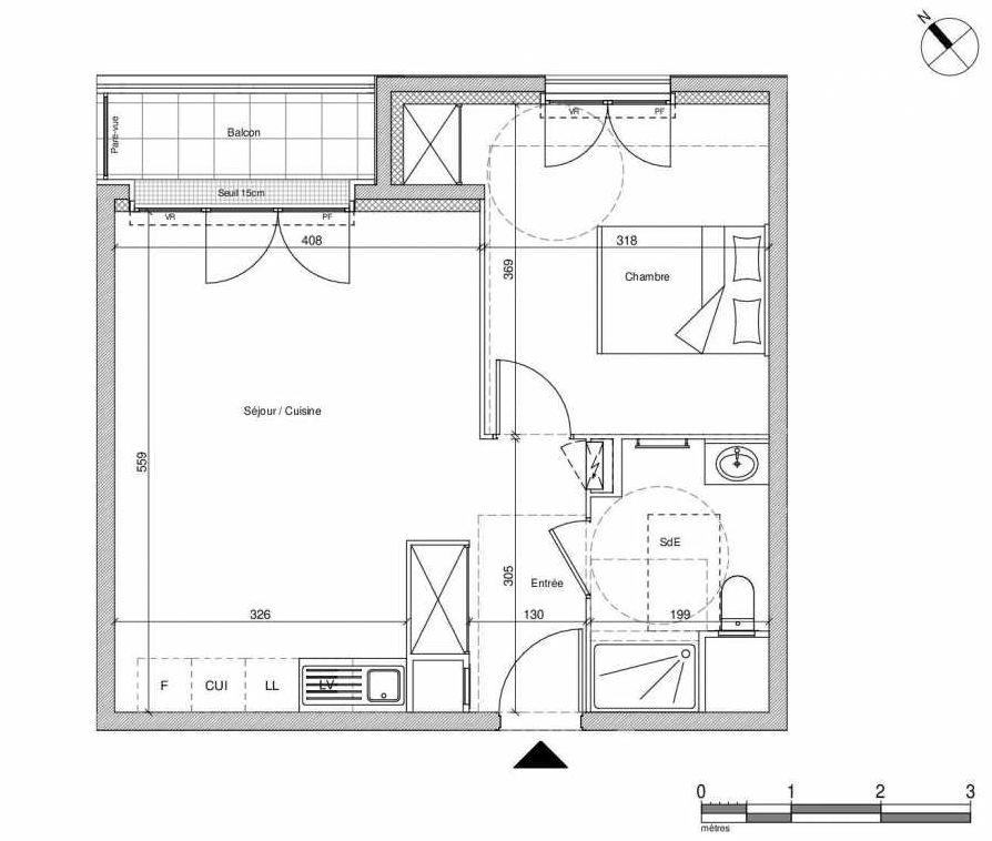 Plan B106, appartement neuf type T2 au Rez de chaussée, faisant 43m² du programme neuf 12 Liberty à Chennevières-sur-Marne.