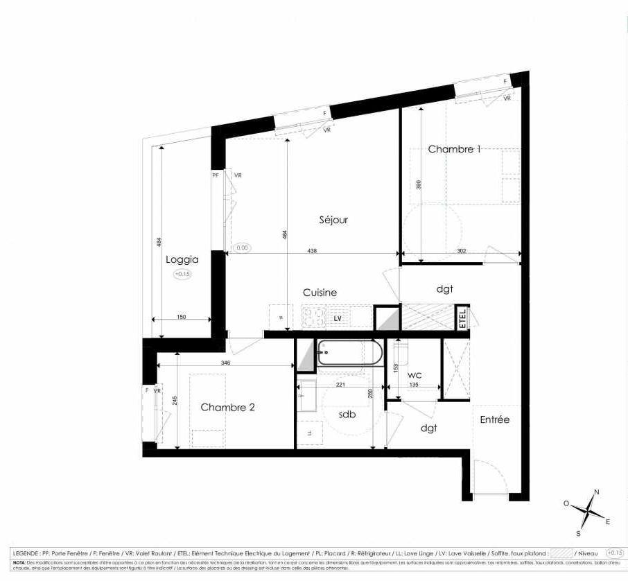Plan B106, appartement neuf type T3 au 1er étage, faisant 66m² du programme neuf Les Jardins d'Arc à Amiens.