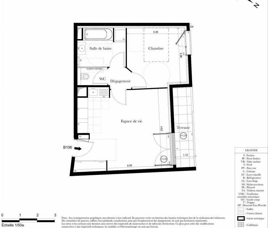 Plan B106, appartement neuf type T2 au 1er étage, orienté Ouest faisant 43m² du programme neuf Symbiose à Bezons.