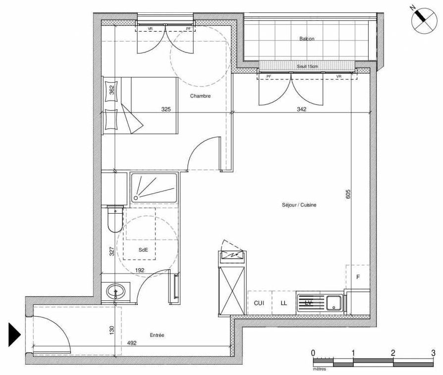 Plan B107, appartement neuf type T2 au Rez de chaussée, faisant 48m² du programme neuf 12 Liberty à Chennevières-sur-Marne.