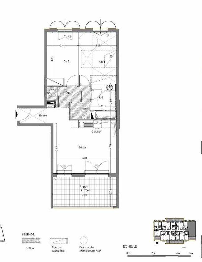 Plan B107, appartement neuf type T3 au 1er étage, orienté Sud faisant 60m² du programme neuf Loderi à Bormes-les-Mimosas.