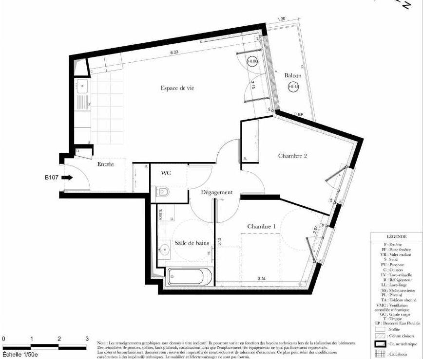 Plan B107, appartement neuf type T3 au 1er étage, orienté Ouest faisant 62m² du programme neuf Symbiose à Bezons.