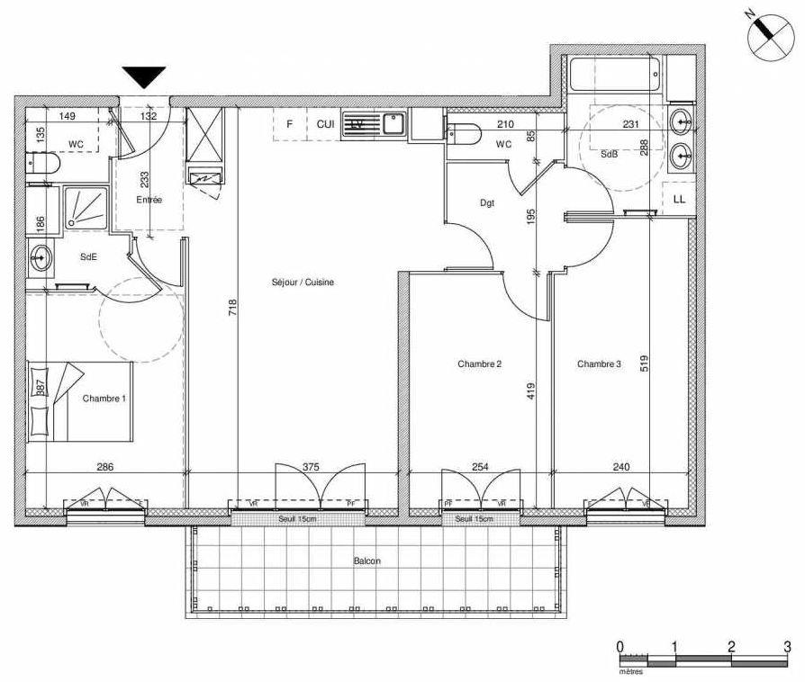 Plan B108, appartement neuf type T4 au 1er étage, faisant 83m² du programme neuf 12 Liberty à Chennevières-sur-Marne.
