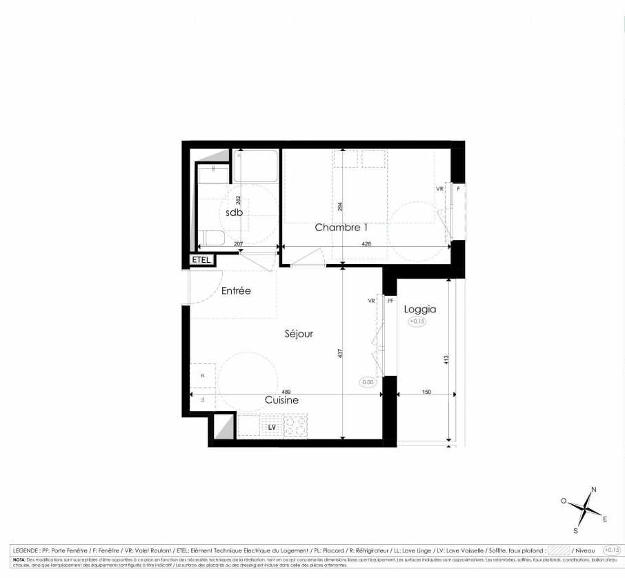 Plan B108, appartement neuf type T2 au 1er étage, faisant 39m² du programme neuf Les Jardins d'Arc à Amiens.