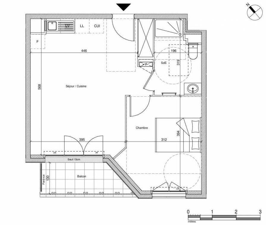 Plan B109, appartement neuf type T2 au Rez de chaussée, faisant 43m² du programme neuf 12 Liberty à Chennevières-sur-Marne.