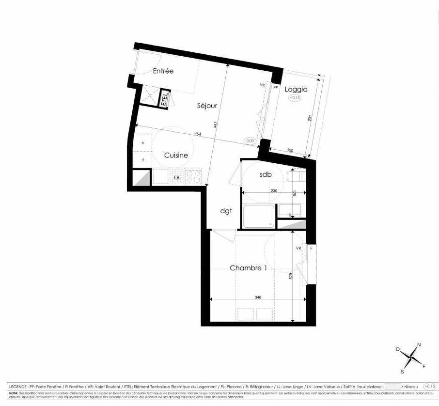 Plan B109, appartement neuf type T2 au 1er étage, faisant 38m² du programme neuf Les Jardins d'Arc à Amiens.