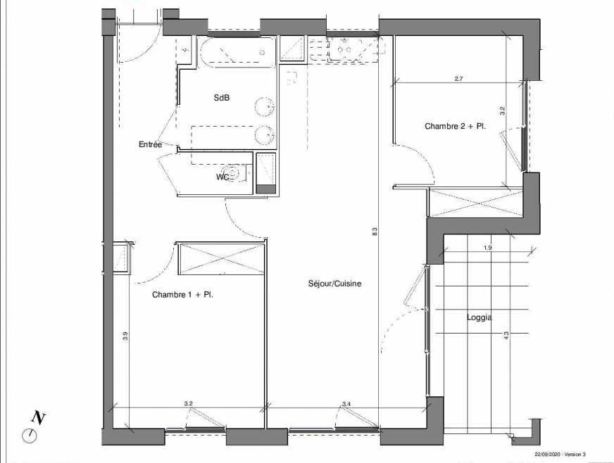 Plan B11, appartement neuf type T3 au 4ème étage, faisant 61m² du programme neuf Kubik Garden à Vénissieux.