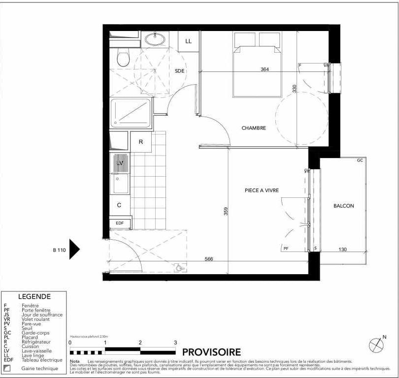 Plan B110, appartement neuf type T2 au 1er étage, orienté Est faisant 40m² du programme neuf Gardenia à Argenteuil.