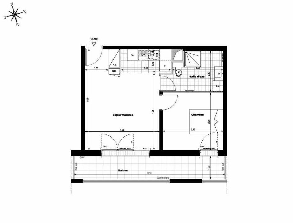 Plan B1102, appartement neuf type T2 au 1er étage, orienté Sud faisant 42m² du programme neuf ALLURE - Rueil-Malmaison à Rueil-Malmaison.