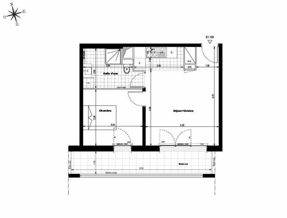Plan B1103, appartement neuf type T2 au 1er étage, orienté Sud faisant 42m² du programme neuf ALLURE - Rueil-Malmaison à Rueil-Malmaison.