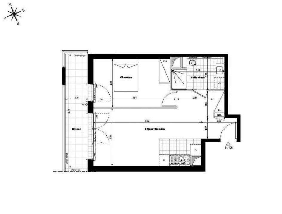 Plan B1106, appartement neuf type T2 au 1er étage, orienté Ouest faisant 45m² du programme neuf ALLURE - Rueil-Malmaison à Rueil-Malmaison.