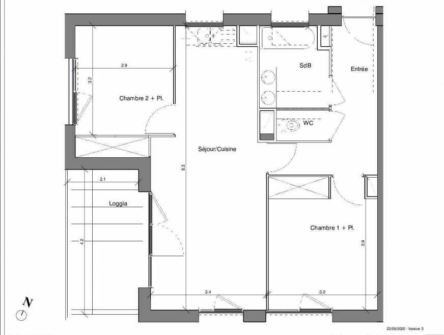 Plan B12, appartement neuf type T3 au 4ème étage, faisant 62m² du programme neuf Kubik Garden à Vénissieux.