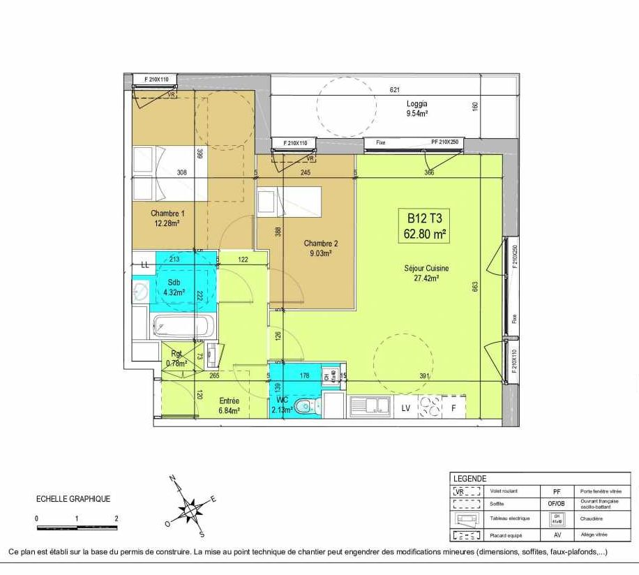 Plan B12, appartement neuf type T3 au 1er étage, orienté Est faisant 63m² du programme neuf LA CREATIVE à Tourcoing.