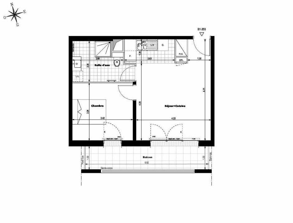 Plan B1203, appartement neuf type T2 au 2ème étage, orienté Sud faisant 42m² du programme neuf ALLURE - Rueil-Malmaison à Rueil-Malmaison.