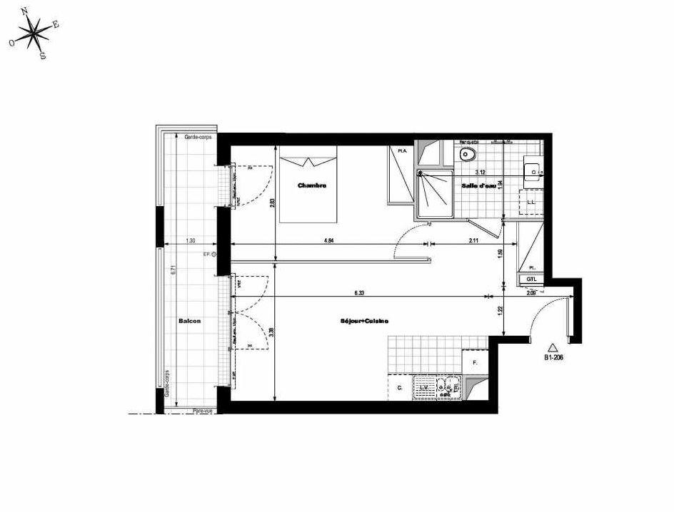 Plan B1206, appartement neuf type T2 au 2ème étage, orienté Ouest faisant 45m² du programme neuf ALLURE - Rueil-Malmaison à Rueil-Malmaison.