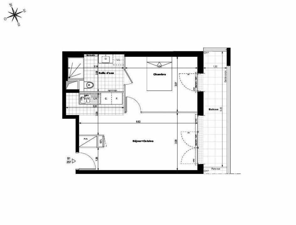 Plan B1207, appartement neuf type T2 au 2ème étage, orienté Est faisant 43m² du programme neuf ALLURE - Rueil-Malmaison à Rueil-Malmaison.