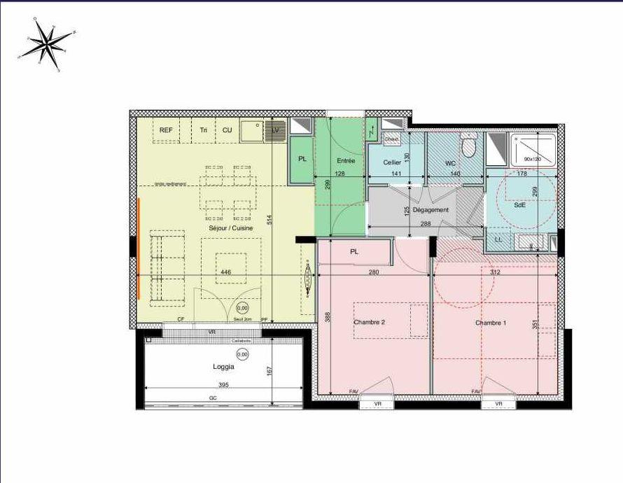 Plan B13, appartement neuf type T3 au 1er étage, orienté Sud faisant 60m² du programme neuf Les Hauts de Brimberne à Sautron.