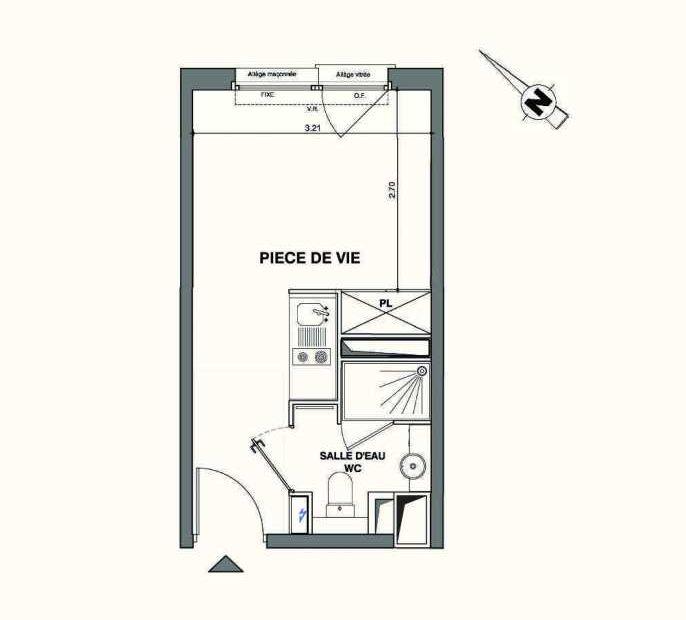 Plan B130, appartement neuf type T1 au 1er étage, faisant 18m² du programme neuf Kaiman - Nimes à Nîmes.