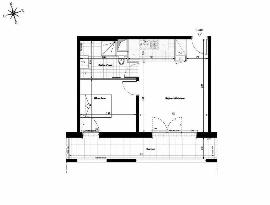 Plan B1303, appartement neuf type T2 au 3ème étage, orienté Sud faisant 42m² du programme neuf ALLURE - Rueil-Malmaison à Rueil-Malmaison.