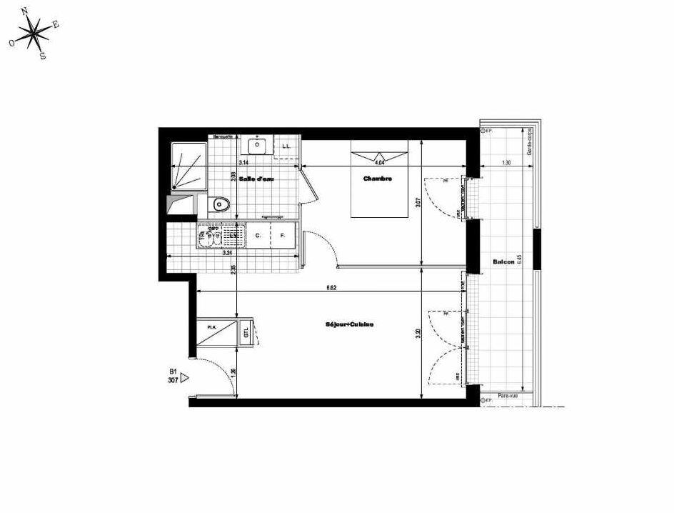 Plan B1307, appartement neuf type T2 au 3ème étage, orienté Est faisant 43m² du programme neuf ALLURE - Rueil-Malmaison à Rueil-Malmaison.