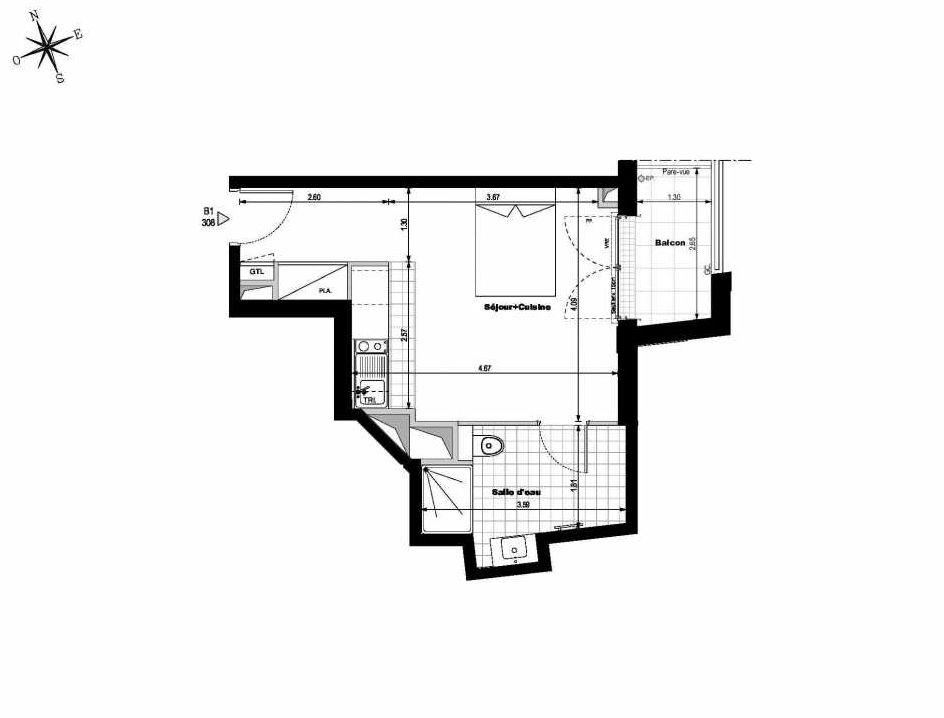 Plan B1308, appartement neuf type T1 au 3ème étage, orienté Est faisant 29m² du programme neuf ALLURE - Rueil-Malmaison à Rueil-Malmaison.