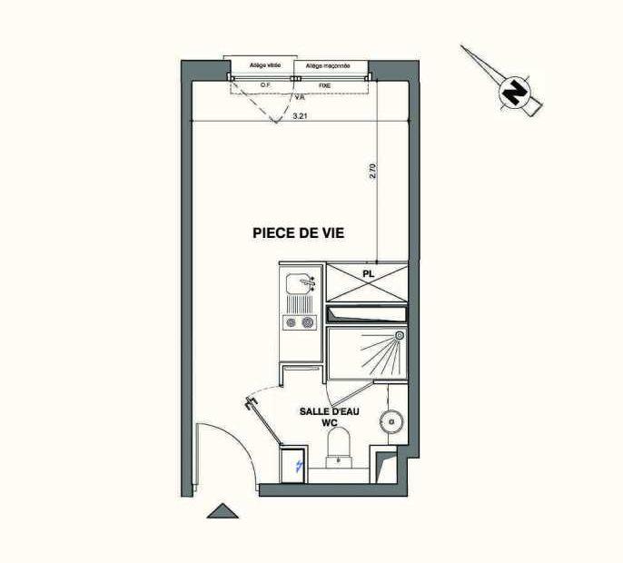 Plan B131, appartement neuf type T1 au 1er étage, faisant 18m² du programme neuf Kaiman - Nimes à Nîmes.