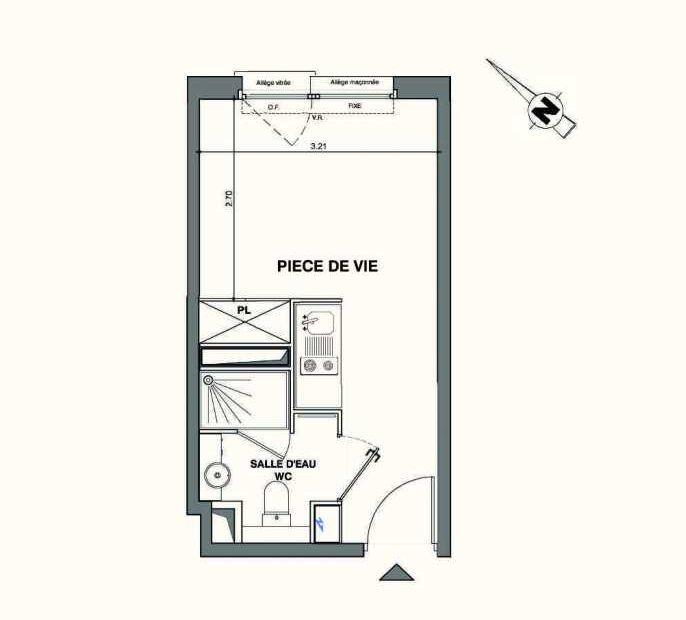 Plan B132, appartement neuf type T1 au 1er étage, faisant 18m² du programme neuf Kaiman - Nimes à Nîmes.