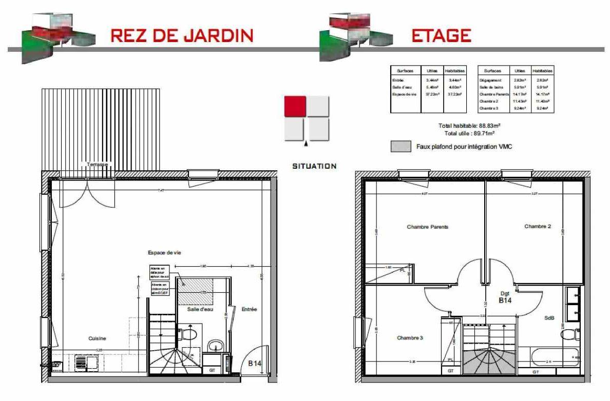 Plan B14, appartement neuf type T4 au Rez de jardin, orienté Est faisant 88m² du programme neuf LES CARRÉS BEL'AIR à Villeneuve-Tolosane.