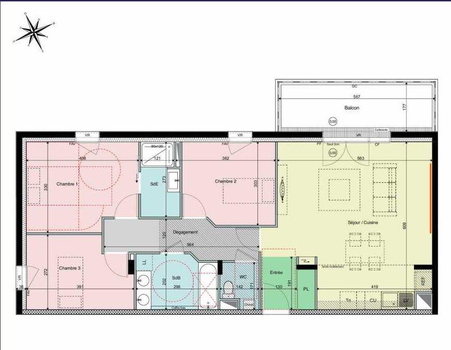 Plan B15, appartement neuf type T4 au 1er étage, orienté Ouest faisant 86m² du programme neuf Les Hauts de Brimberne à Sautron.