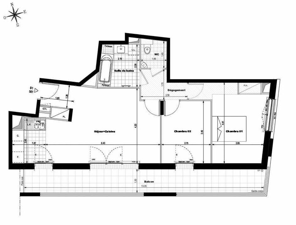 Plan B1501, appartement neuf type T3 au 5ème étage, orienté Sud faisant 66m² du programme neuf ALLURE - Rueil-Malmaison à Rueil-Malmaison.