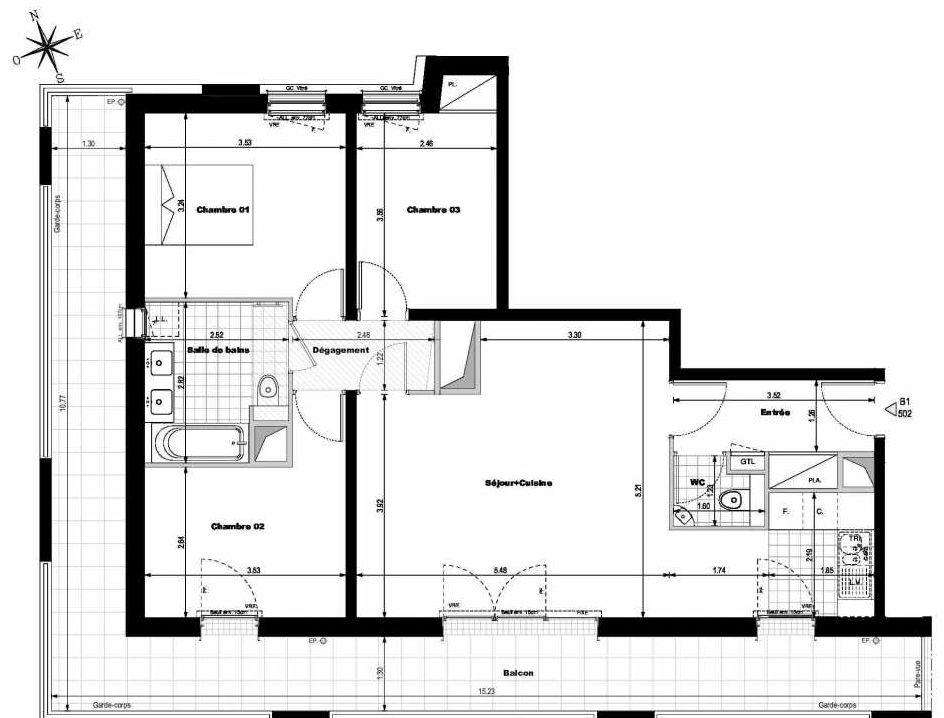 Plan B1502, appartement neuf type T4 au 5ème étage, orienté Sud faisant 80m² du programme neuf ALLURE - Rueil-Malmaison à Rueil-Malmaison.
