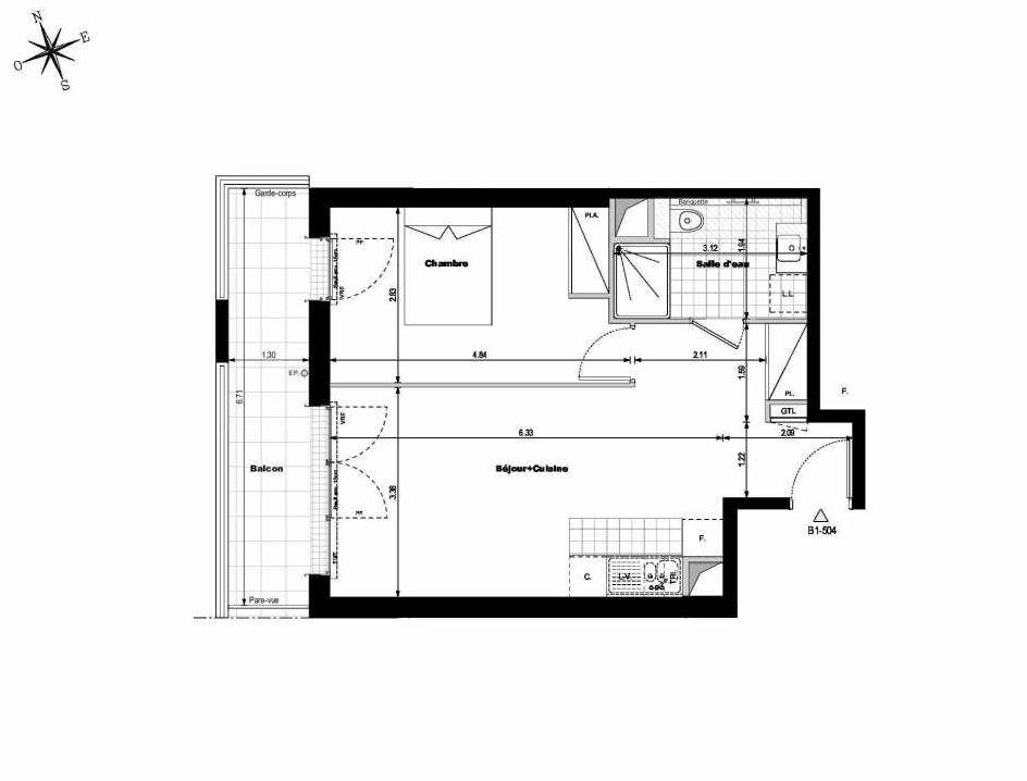 Plan B1504, appartement neuf type T2 au 5ème étage, orienté Ouest faisant 45m² du programme neuf ALLURE - Rueil-Malmaison à Rueil-Malmaison.