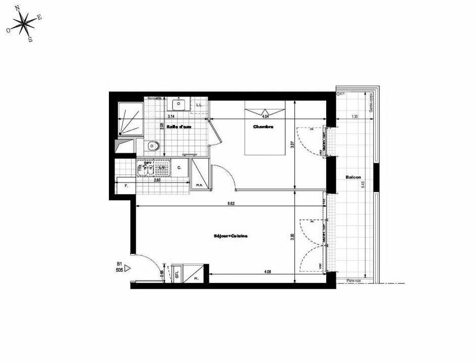 Plan B1505, appartement neuf type T2 au 5ème étage, orienté Est faisant 43m² du programme neuf ALLURE - Rueil-Malmaison à Rueil-Malmaison.