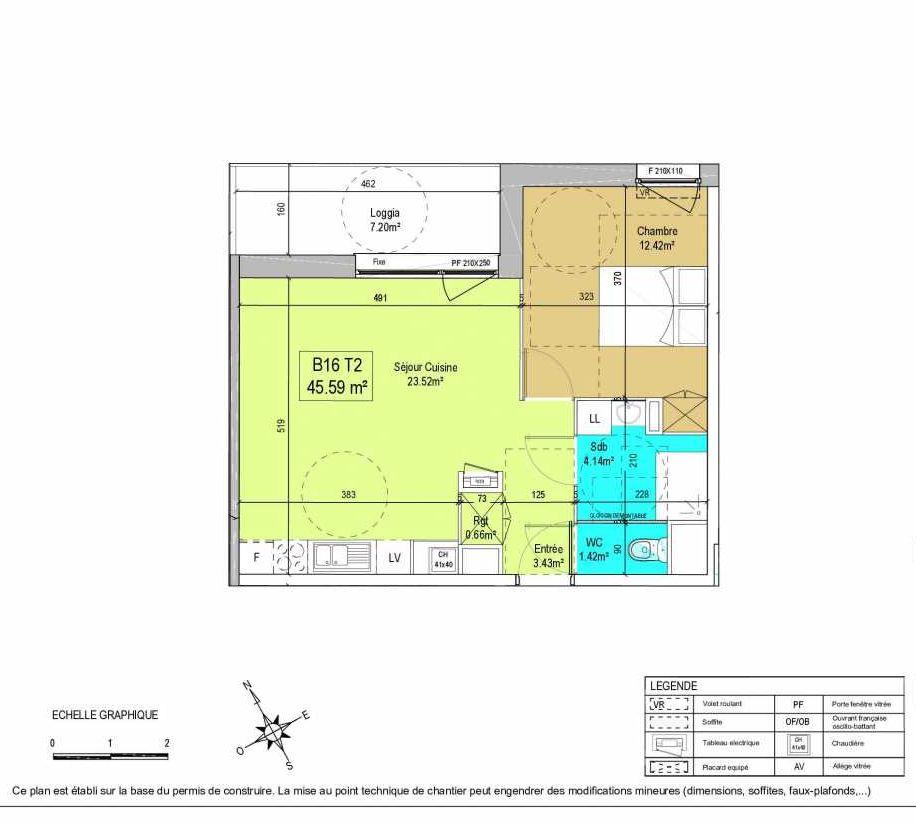 Plan B16, appartement neuf type T2 au 1er étage, orienté Nord faisant 46m² du programme neuf LA CREATIVE à Tourcoing.