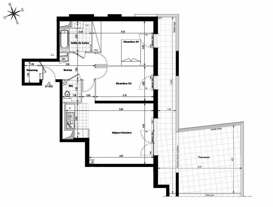 Plan B1602, appartement neuf type T3 au 6ème étage, orienté Est faisant 65m² du programme neuf ALLURE - Rueil-Malmaison à Rueil-Malmaison.