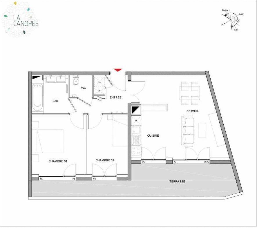 Plan B17, appartement neuf type T3 au 1er étage, orienté Ouest faisant 59m² du programme neuf La Canopée à Amiens.