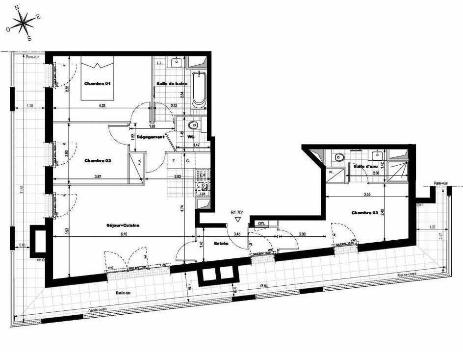 Plan B1701, appartement neuf type T4 au 7ème étage, orienté Sud faisant 78m² du programme neuf ALLURE - Rueil-Malmaison à Rueil-Malmaison.