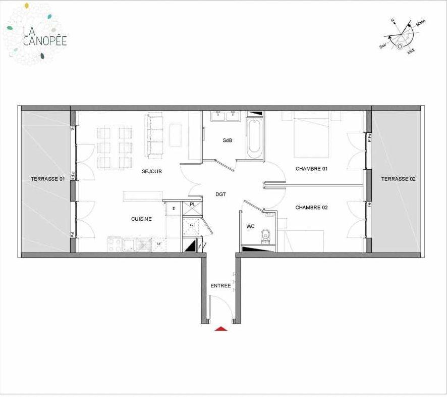 Plan B18, appartement neuf type T3 au 1er étage, orienté Est faisant 67m² du programme neuf La Canopée à Amiens.