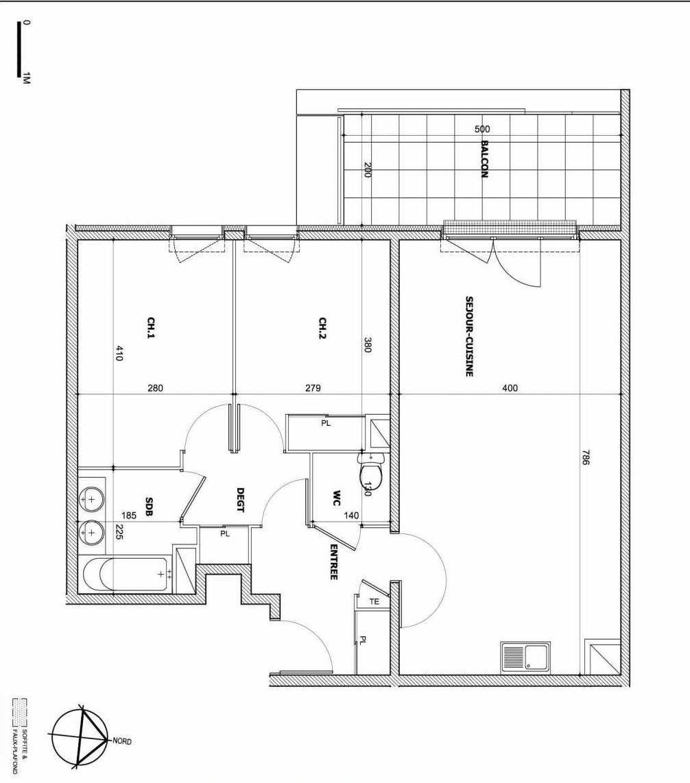 Plan B18, appartement neuf type T3 au 2ème étage, faisant 68m² du programme neuf Le Vallon des Caillols à Marseille.