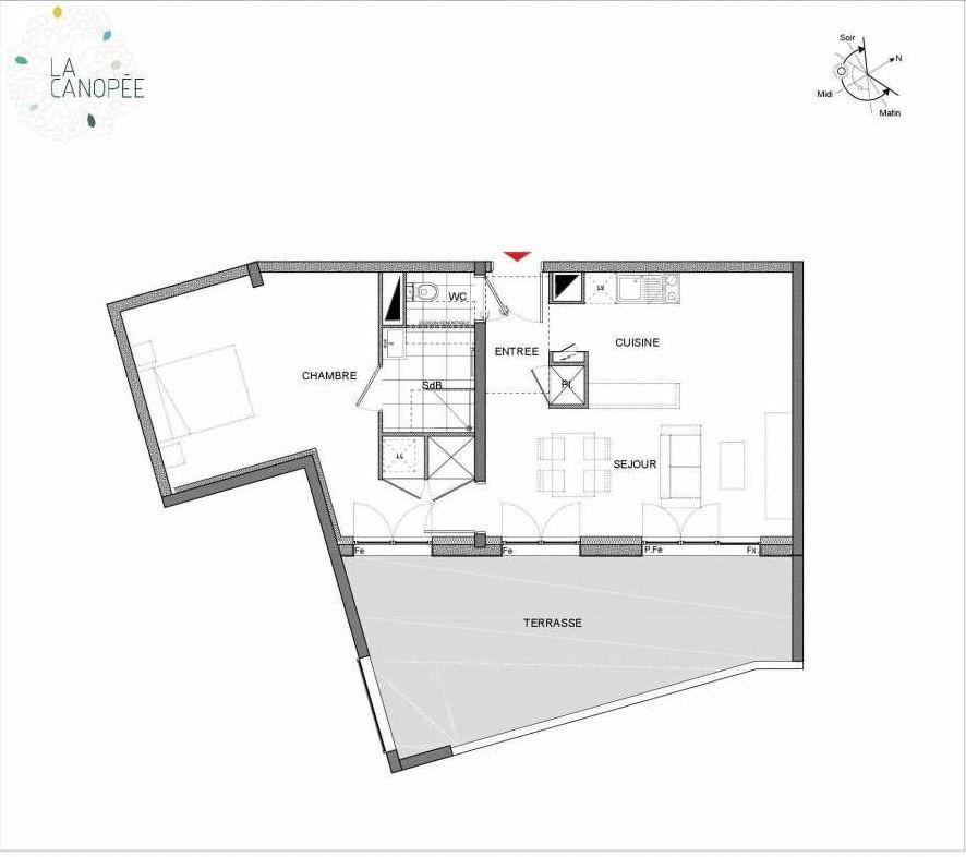 Plan B19, appartement neuf type T2 au 1er étage, orienté Est faisant 53m² du programme neuf La Canopée à Amiens.