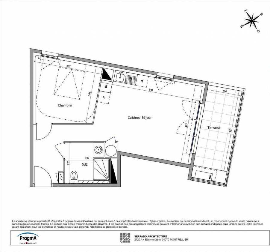 Plan B2-01, appartement neuf type T2 au Rez de chaussée, orienté Sud faisant 45m² du programme neuf Soléa à Vendargues.