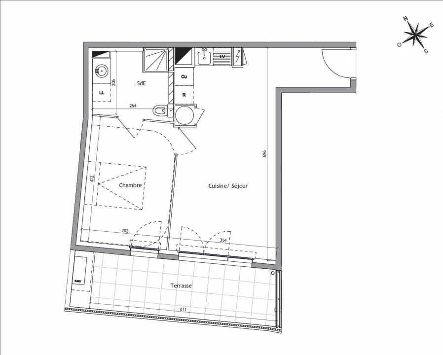 Plan B2-03, appartement neuf type T2 au Rez de chaussée, orienté Sud faisant 42m² du programme neuf Soléa à Vendargues.