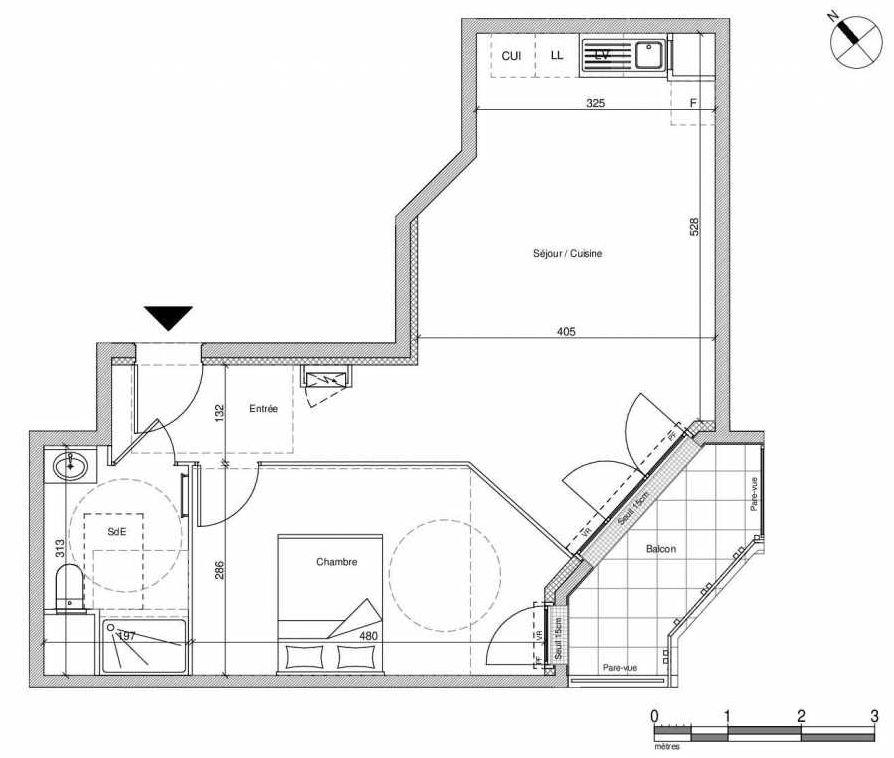 Plan B201, appartement neuf type T2 au Rez de chaussée, faisant 46m² du programme neuf 12 Liberty à Chennevières-sur-Marne.