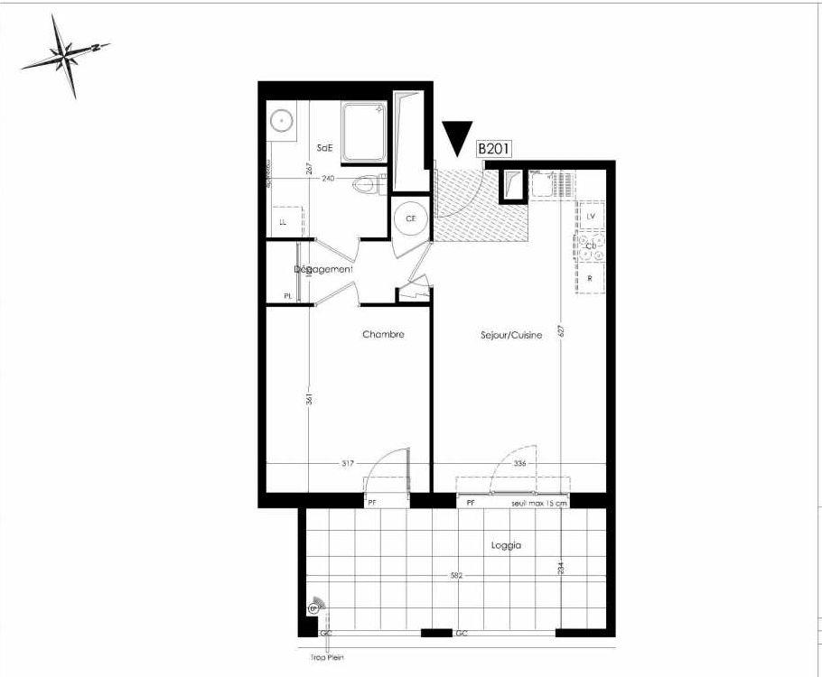 Plan B201, appartement neuf type T2 au 2ème étage, orienté Ouest faisant 43m² du programme neuf Coeur Village à Marseille.