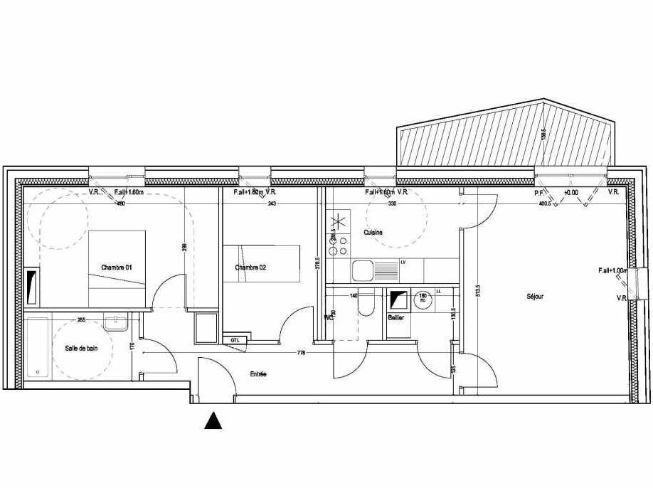 Plan B201, appartement neuf type T3 au 1er étage, orienté Sud faisant 71m² du programme neuf COLYSEE à Lys-lez-Lannoy.