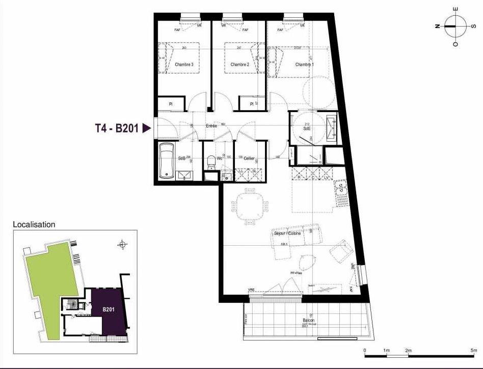 Plan B201, appartement neuf type T4 au 2ème étage, orienté Ouest faisant 87m² du programme neuf LA TRAVERSEE à Saint-Nazaire.